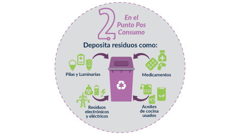 Step 2- Deposit the waste in the bins provided for each material