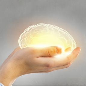 Foto de manos sosteniendo un cerebro luminoso