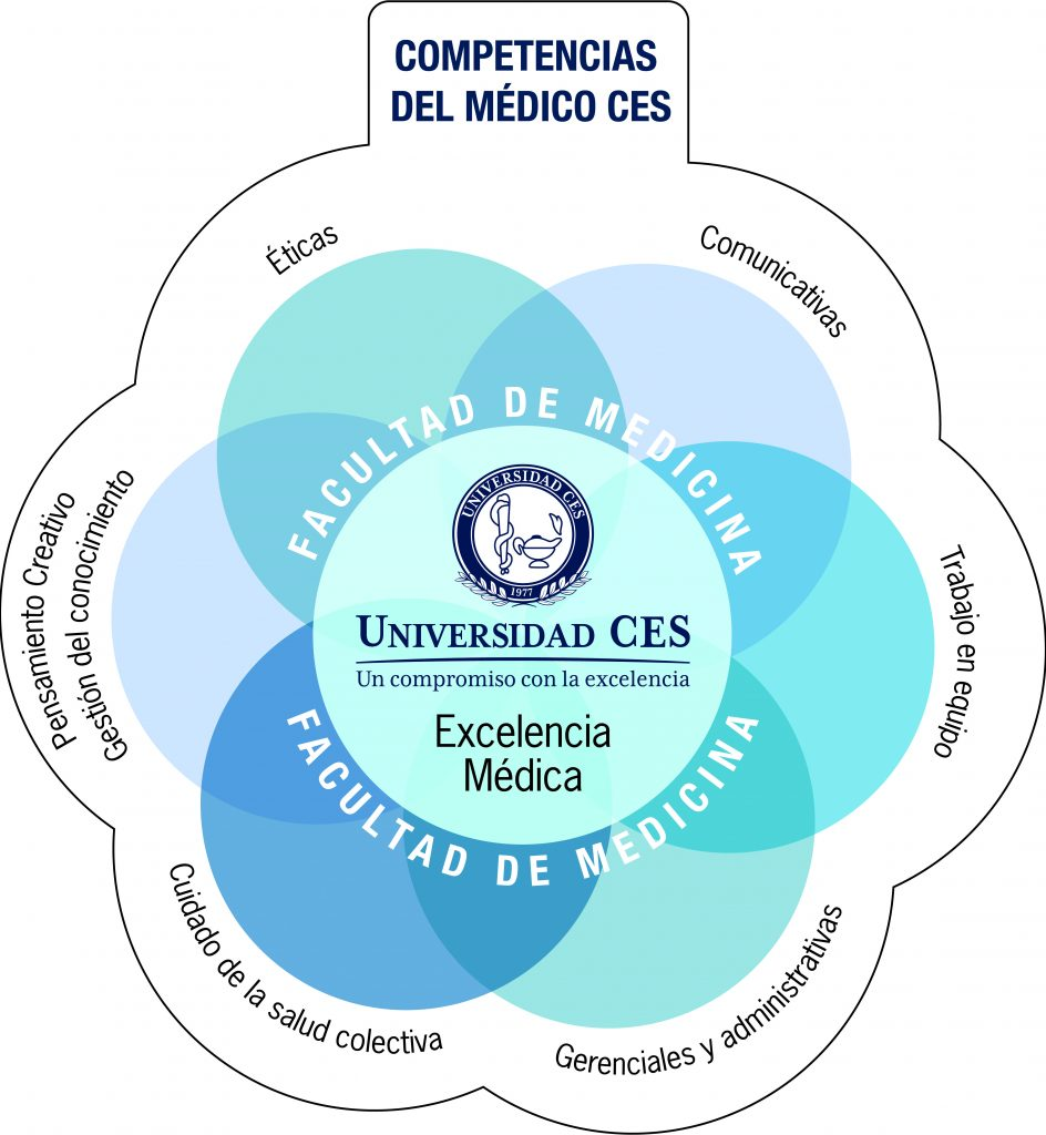 CES doctor competencies map (ethical, communicative, teamwork, managerial and administrative, collective health care and creative thinking.)