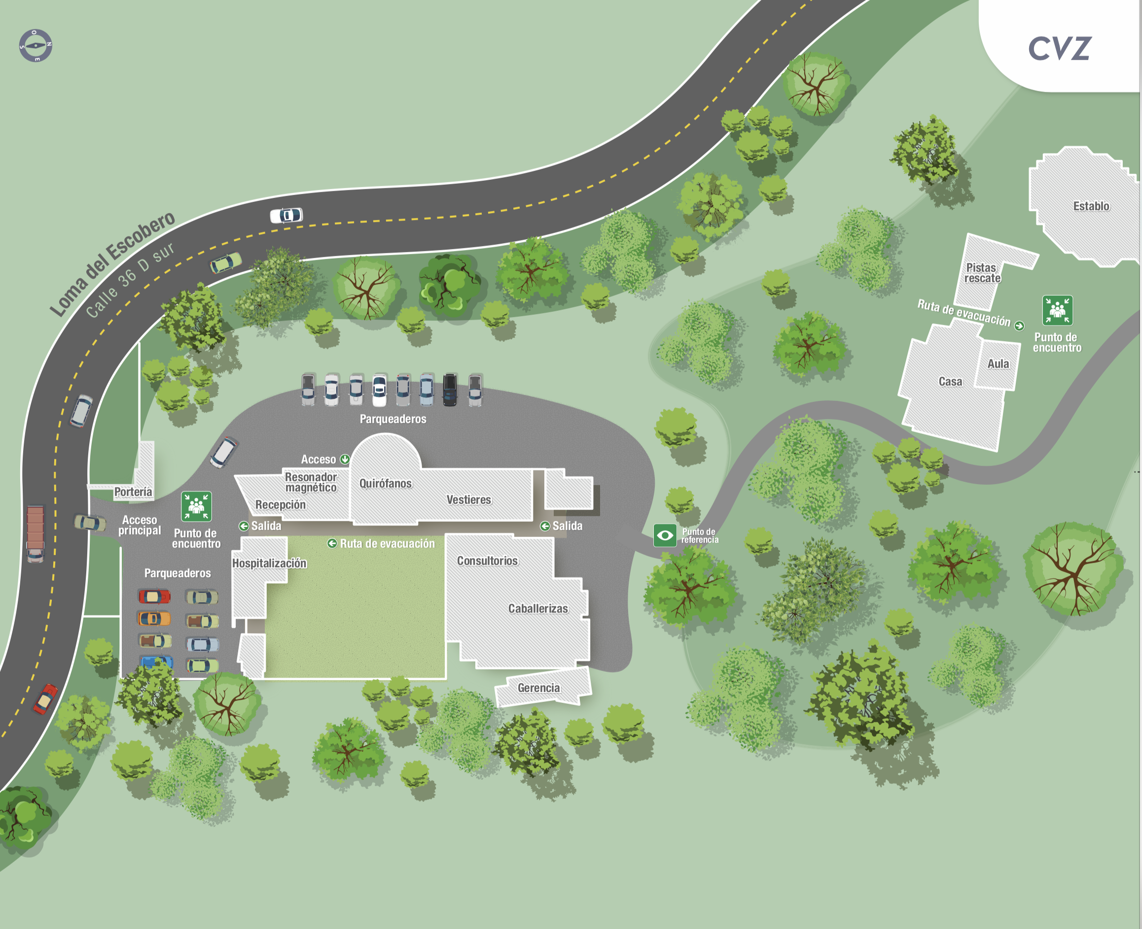 mapa de evacuación Centro de Veterinaria y Zootecnia - CVZ