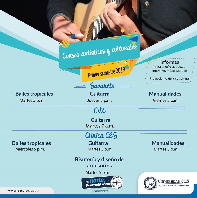 Imagen de horarios y sedes de cursos artísticos y culturales de baile, guitarra y manualidades.