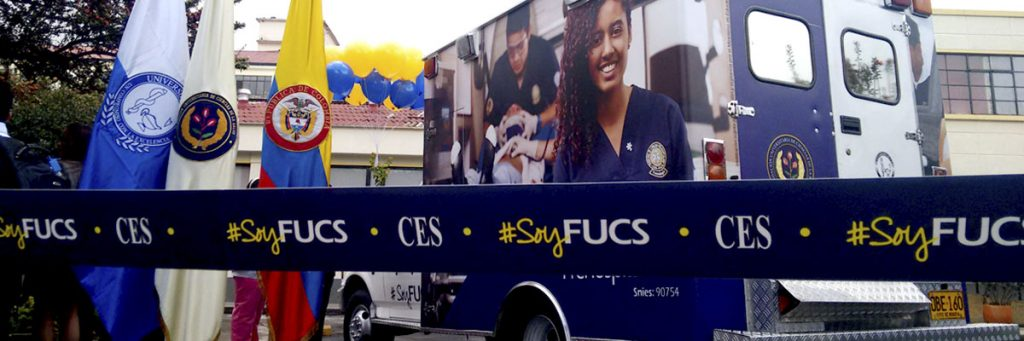 FuCS ambulance simulator photo, institution in agreement with CES University for this program in Bogota