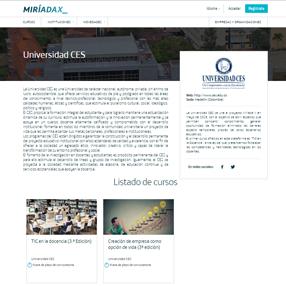 Image of the Miriadax platform