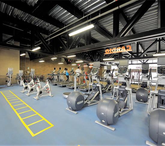 Fotografía de las instalaciones del gimnasio donde se encuentran las elípticas, pista TRX, entre otros elementos.