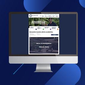 Pantalla de computador con la nueva imagen del nuevo portal de la Universidad CES