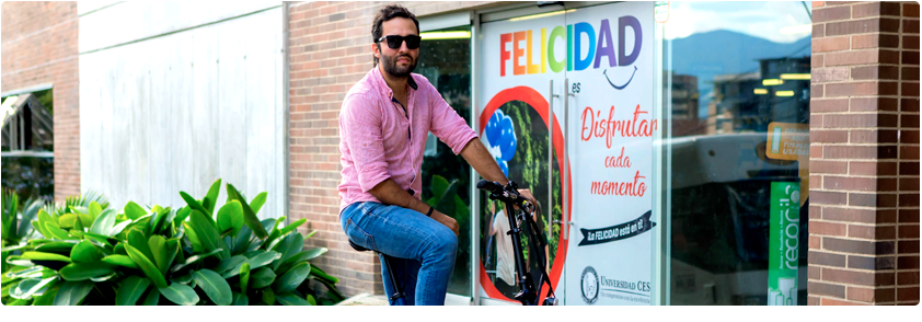 Photograph of a user using a bicycle