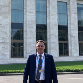 Photograph of Dr. Mauricio Vasco at WHO 2019