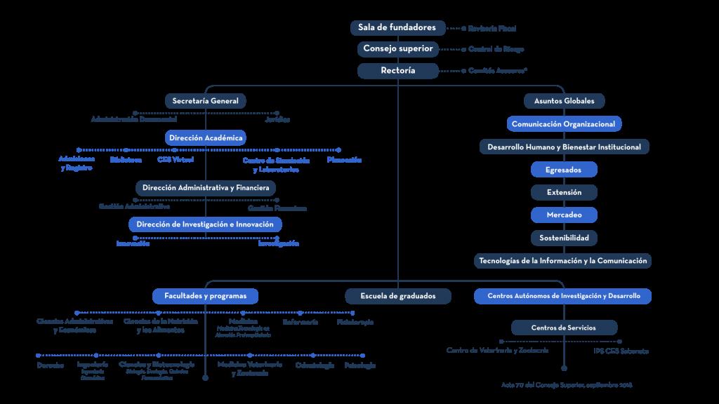 Imagen del organigrama de la Universidad CES