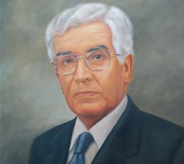 Pintura con el rostro del fundador Alfonso Escobar