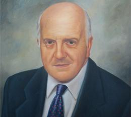 Pintura con el rostro del fundador Luis Alfonso Vélez