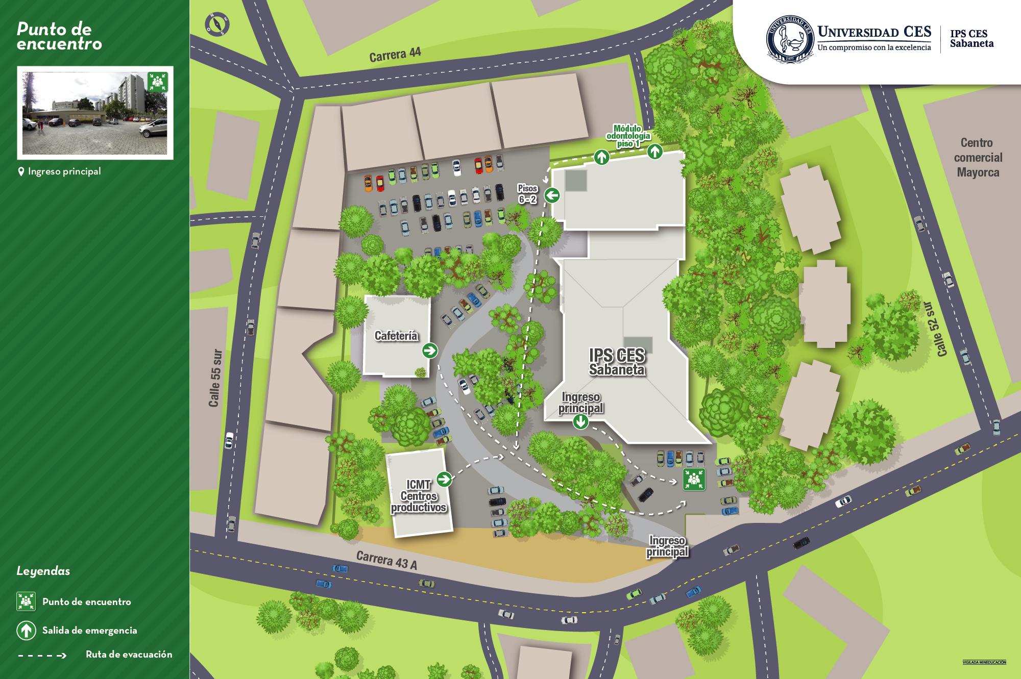 Mapa de evacuación y puntos de encuentro sede sabaneta