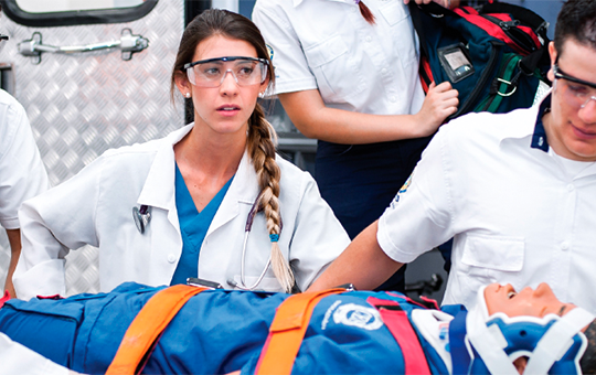 Photograph of students of Technology in Prehospital Care in their internships