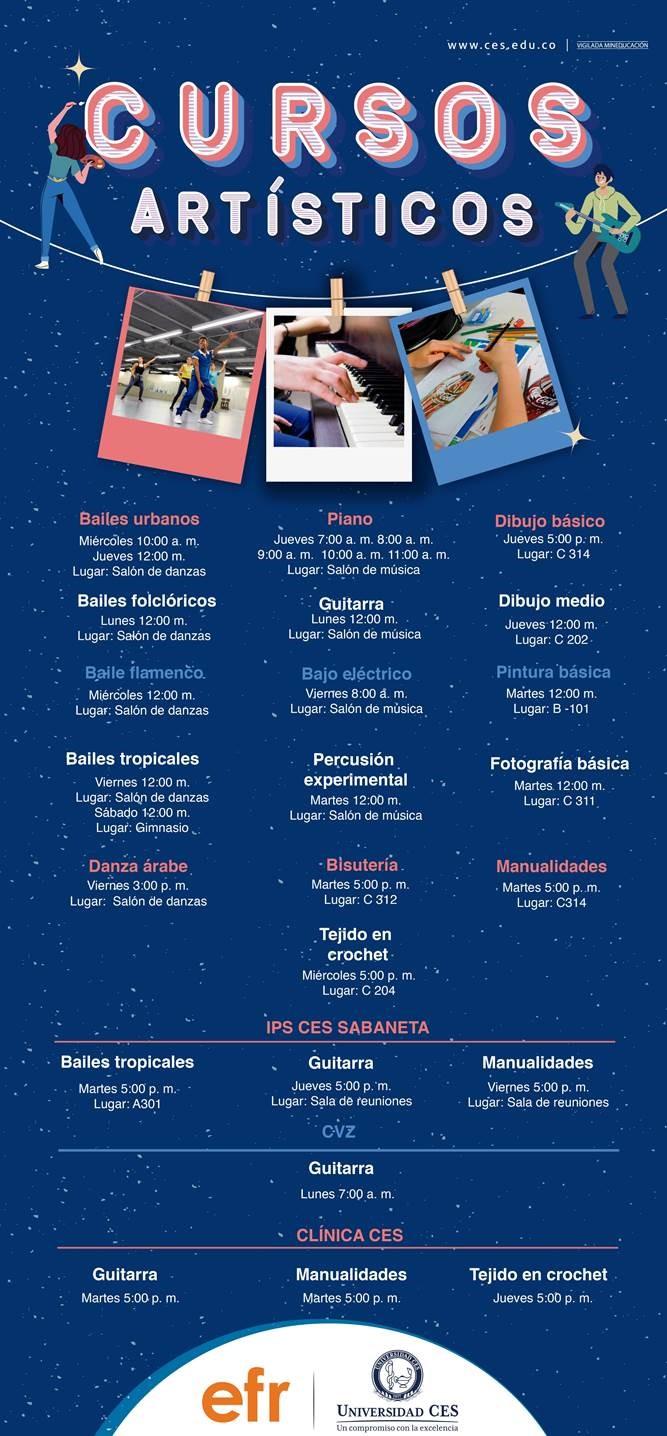 Imagen de orferta artística y cultural 2020-1 en las sedes Poblado, IPS CES Sabaneta y CVZ
