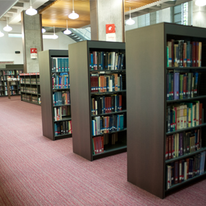 Photo of shelves in the Fundadores Library