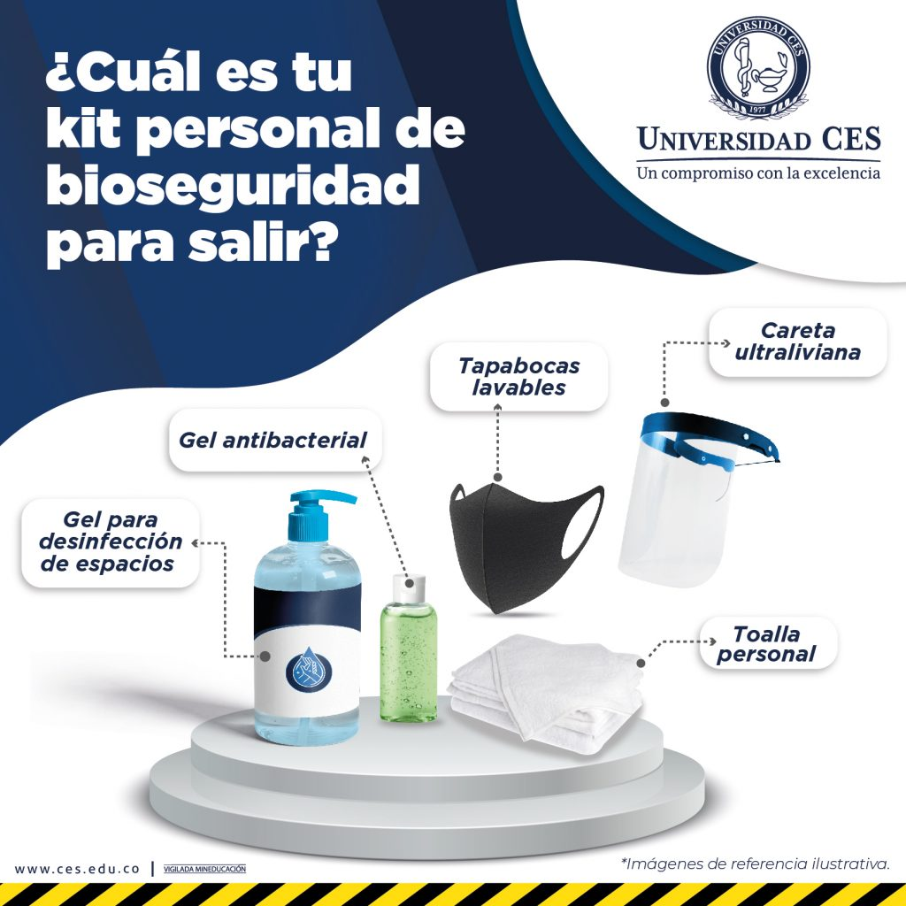 Image with the personal biosafety kit to go out.