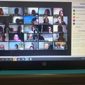 Photograph of students in virtual class by Zoom