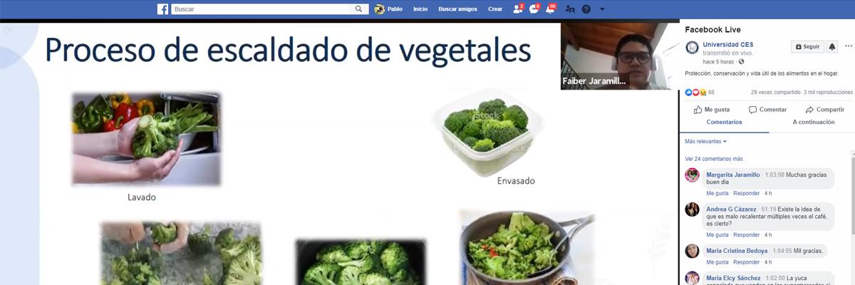 Fotografía de la exposición del docente de nutrición en un Facebook Live