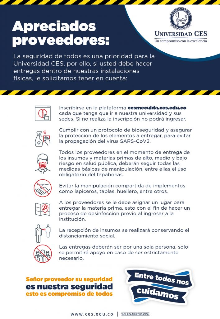 image with biosafety instructions for suppliers who must enter the university or its headquarters