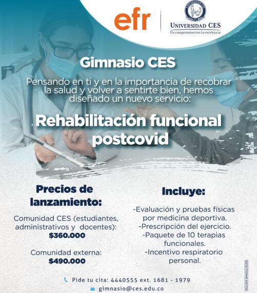 pieza promocional servicio rehabilitación funcional postcovid - gimnasio CES