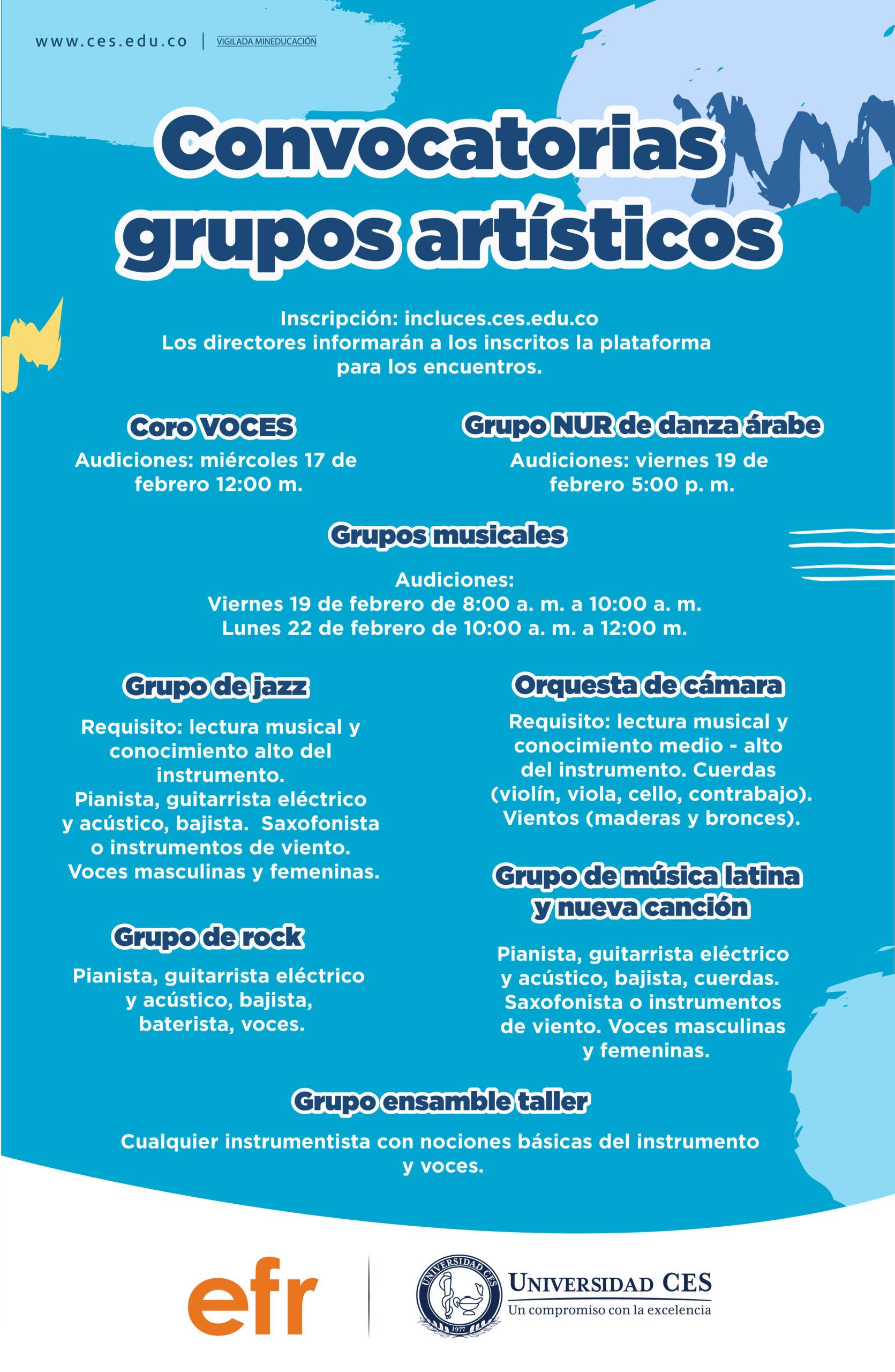 Convocatoria grupos artísticos Universidad CES