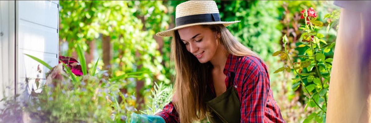 mujer manipulando plantas