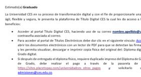 Imagen de ejemplo del correo electrónico de recepción del diploma