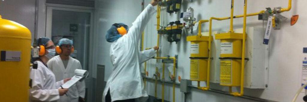 professional person manipulating gas valves