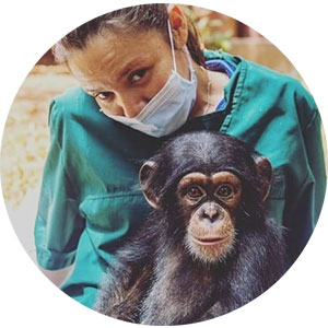 photograph of woman carrying a chimpanzee