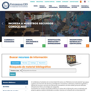 screenshot of the main page of the library