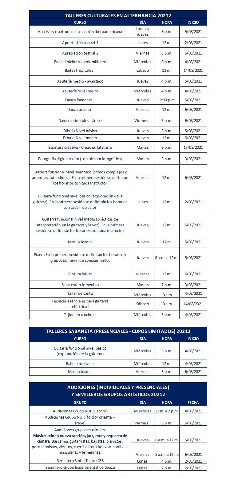 oferta de cursos artísticos y culturales 2021-2