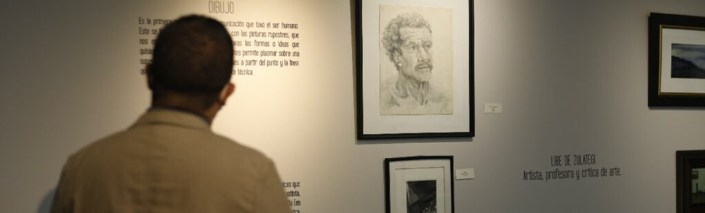 fotografia de un hombre viendo obras de arte de Libe de Zulategi