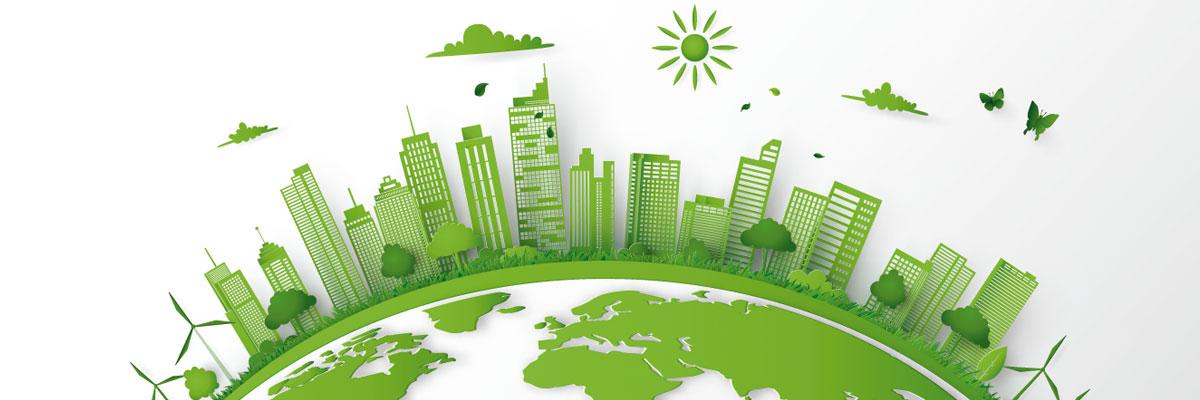 ilustración de ciudad en color verde